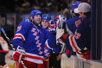 NEW YORK, NY - APRIL 17: Vaclav Prospal #20 of the New York Rangers celebrates with teammates after he scored a third period goal against the Washington Capitals in Game Three of the Eastern Conference Quarterfinals during the 2011 NHL Stanley Cup Playoff