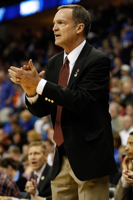 TULSA, OK - MARCH 18:  Head coach Lon Kruger of the UNLV Rebels looks on from the sidelines during the second round game against the Illinois Fighting Illini in the 2011 NCAA men's basketball tournament at BOK Center on March 18, 2011 in Tulsa, Oklahoma.