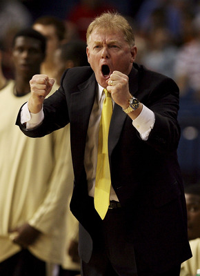 TAMPA, FL - MARCH 9:  Head coach Skip Prosser of the Wake Forest Demon Deacons screams toward his team against the Viginia Tech Hokies in the quarterfinals of the ACC Men's Basketball Tournament at the St. Pete Times Forum March 9, 2007 in Tampa, Florida.