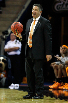 CHARLOTTE, NC - MARCH 18:  Head coach Bruce Pearl of the Tennessee Volunteers reacts in the second half while taking on the Michigan Wolverines during the second round of the 2011 NCAA men's basketball tournament at Time Warner Cable Arena on March 18, 20