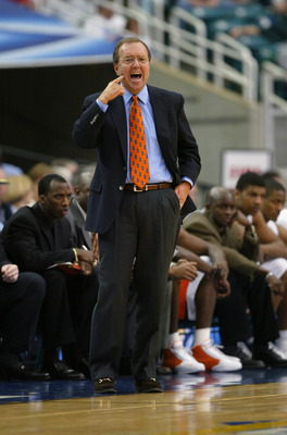 ATLANTA - MARCH 11:  Head coach Cliff Ellis of the University of Auburn Tigers yells during the SEC Men's Basketball Tournament game against the University of Georgia Bulldogs at the Georgia Dome on March 11, 2004 in Atlanta, Georgia.  The Bulldogs won 73