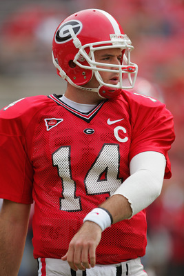 ATHENS, GA - OCTOBER 2:  Quarterback David Greene #14 of the Georgia Bulldogs practices passing before facing the Louisiana State University Tigers during the game at Sanford Stadium on October 2, 2004 in Athens, Georgia. The Bulldogs won 45-16.  (Photo b
