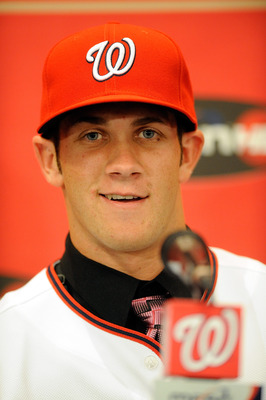 WASHINGTON - AUGUST 26:  Bryce Harper #34 of the Washington Nationals talks to the media during a press conference at Nationals Park on August 26, 2010 in Washington, DC.  (Photo by Greg Fiume/Getty Images)