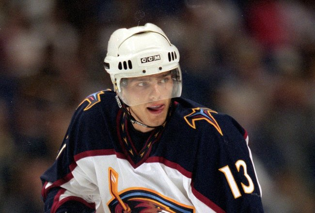 14 Sep 1999:  Patrik Stefan #13 of the Atlanta Thrashers skates on the ice during a game against the St. Louis Blues at the Kiel Center in St. Louis, Missouri. The Thrashers tied the Blues 3-3. Mandatory Credit: Elsa Hasch  /Allsport