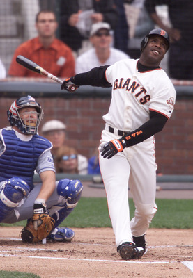 7 Oct 2001:  Barry Bonds of the San Francisco Giants hits his 73rd home run against Dennis Springer of the Los Angeles Dodgers in the first inning at Pac Bell Park in San Francisco, California. DIGITAL IMAGE> Mandatory Credit: Jed Jacobsohn/ALLSPORT