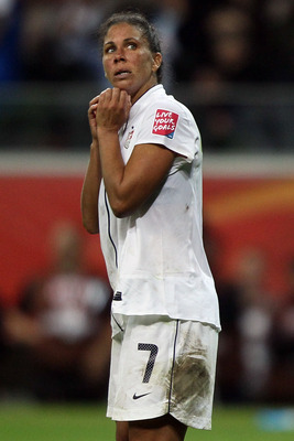FRANKFURT AM MAIN, GERMANY - JULY 17: Shannon Boxx of USA looks dejected after faild a penalty during the penalty shoot-out during the FIFA Women's World Cup Final match between Japan and USA at the FIFA World Cup stadium Frankfurt on July 17, 2011 in Fra
