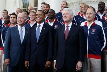 WASHINGTON - MAY 27:  (AFP OUT) U.S. President Barack Obama (C), Vice President Joseph Biden (L), and former president Bill Clinton (R) pose for photographers with U.S. World Cup Soccer Team at the North Portico May 27, 2010 at the White House in Washingt
