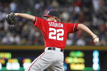 ATLANTA, GA - JULY 16: Drew Storen #22 of the Washington Nationals closes the game against the Atlanta Braves on July 16, 2011 at Turner Field in Atlanta, Georgia. (Photo by Daniel Shirey/Getty Images)