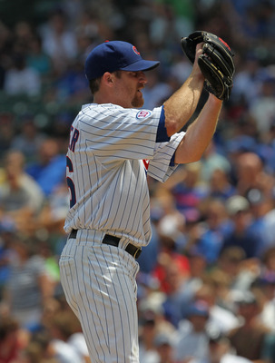 CHICAGO, IL - JULY 15:  Starting pitcher Ryan Dempster #46 of the Chicago Cubs prepares to deliver the ball against the Florida Marlins at Wrigley Field on July 15, 2011 in Chicago, Illinois.  (Photo by Jonathan Daniel/Getty Images)
