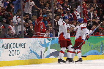 VANCOUVER, BC - FEBRUARY 17:  Jaromir Jagr of the Czech Republic celebrates his second period goal with Roman Cervenka against Slovakia during the ice hockey men's preliminary game on day 6 of the Vancouver 2010 Winter Olympics at Canada Hockey Place on F