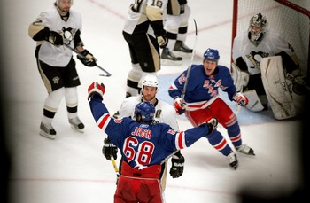 NEW YORK - APRIL 29:  Jaromir Jagr #68 of the New York Rangers celebrates his game-tying goal with Martin Straka #82 against the Pittsburgh Penguins in the second period of Game 3 of the Eastern Conference Semifinals of the 2008 NHL Stanley Cup Playoffs a