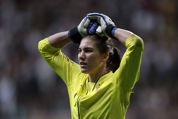 FRANKFURT AM MAIN, GERMANY - JULY 17:  Hope Solo of the USA looks dejected after losing 3-5 after penalty shoot-out the FIFA Women's World Cup Final match between Japan and USA at the FIFA World Cup stadium Frankfurt on July 17, 2011 in Frankfurt am Main,
