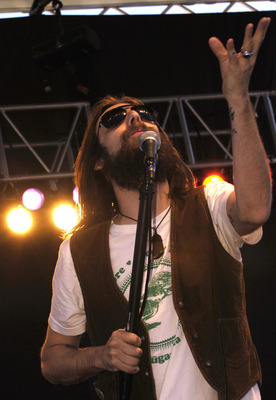 CHARLOTTE, NC - MAY 21:  Chris Robinson, lead singer for the Black Crowes, during a pre race concert prior to the NASCAR Nextel Cup Series All Star Challenge on May 21, 2005 at the Lowes Motor Speedway in Charlotte, North Carolina.  (Photo by Rusty Jarret