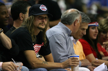 AUBURN HILLS, MI - MAY 30:  Kid Rock watches as the Detroit Pistons take on the Boston Celtics during Game Six of the Eastern Conference finals during the 2008 NBA Playoffs at the Palace of Auburn Hills on May 30, 2008 in Auburn Hills, Michigan. NOTE TO U