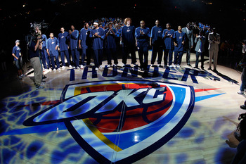 OKLAHOMA CITY - OCTOBER 29: The Oklahoma City Thunder are introduced before playing the Milwaukee Bucks at the Ford Center October 29, 2008 in Oklahoma City, Oklahoma. NOTE TO USER: User expressly acknowledges and agrees that, by downloading and/or using