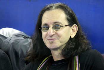 TORONTO - APRIL 4:  Geddy Lee, lead vocalist and bassist of the rock band Rush, watches as the Toronto Blue Jays play  against the Boston Red Sox for the Blue Jays' home-opener at the Rogers Centre April 4, 2008 in Toronto, Ontario, Canada.  (Photo By Dav