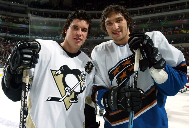 DALLAS - JANUARY 23:  Eastern Conference All-Stars Sidney Crosby #87 of the Pittsburgh Penguins and Alex Ovechkin #8 of the Washington Capitals pose together during the 2007 NHL All-Star Skills Gameon January 23, 2007 at the American Airlines Center in Da