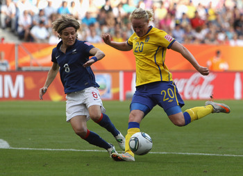 Marie Hammarstrom winds up for her winning goal against France