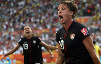 Wambach (20) after scoring the latest goal in World Cup history