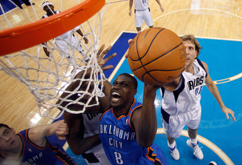 DALLAS, TX - MAY 17:  Nazr Mohammed #8 of the Oklahoma City Thunder goes up for a shot in front of Dirk Nowitzki #41 of the Dallas Mavericks in the first half in Game One of the Western Conference Finals during the 2011 NBA Playoffs at American Airlines C