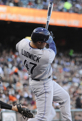 SAN FRANCISCO, CA - JULY 6: Ryan Ludwick #47 of the San Diego Padres hits a double driving in two runs against the San Francisco Giants in the first inning during an MLB baseball game at AT&T Park July 6, 2011 in San Francisco, California. (Photo by Thear