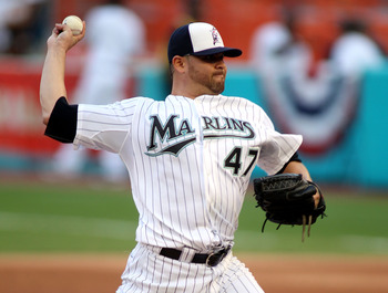 MIAMI GARDENS, FL - JULY 04:  Pitcher Ricky Nolasco #47 of the Florida Marlins throws against the Philadelphia Phillies at Sun Life Stadium on July 4, 2011 in Miami Gardens, Florida.  (Photo by Marc Serota/Getty Images)