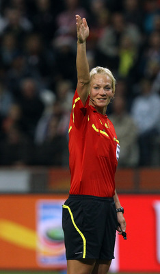 FRANKFURT AM MAIN, GERMANY - JULY 17:  Referee Bibiana Steinhaus of Germany makes a point during the FIFA Women's World Cup Final match between Japan and USA at the FIFA World Cup stadium Frankfurt on July 17, 2011 in Frankfurt am Main, Germany.  (Photo b