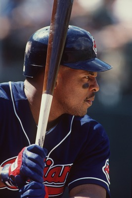 10 Aug 1996:  Outfielder Albert Belle of the Cleveland Indians stares back at the pitchers mound as he awaits the arrival of the ball during an at-bat in the Indians 5-1 loss to the Oakland A''s at the Alemeda County Coliseum in Oakland, California.  Mand