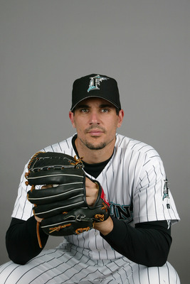 JUPITER, FL - FEBRUARY 28:  Pitcher Carl Pavano #45 of the Florida Marlins during photo day February 28, 2004 at Roger Dean Stadium in Jupiter, Florida. (Photo by Eliot J. Schechter/Getty Images)
