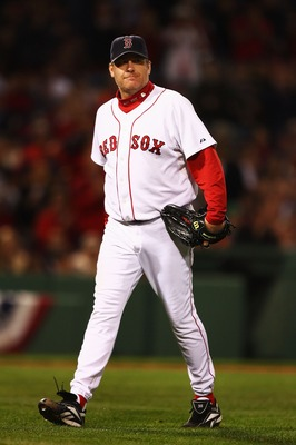 BOSTON - OCTOBER 20:  Starting pitcher Curt Schilling #38 of the Boston Red Sox smiles after closing out the seventh inning against the Cleveland Indians during Game Six of the American League Championship Series at Fenway Park on October 20, 2007 in Bost