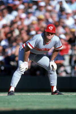 SAN DIEGO, CA - 1986:  Pete Rose #14 of the Cincinnati Reds readies for a play during a game against the San Diego Padres at Jack Murphy Stadium in the 1986 MLB season in San Diego, California.  (Photo by Stephen Dunn/Getty Images)