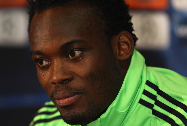 MANCHESTER, ENGLAND - APRIL 11:  Michael Essien of Chelsea faces the media during a press conference ahead of their UEFA Champions League quarter final second leg match against Manchester United at Old Trafford on April 11, 2011 in Manchester, England.  (