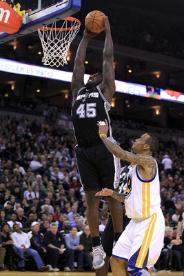 OAKLAND, CA - JANUARY 24:  DeJuan Blair #45 of the San Antonio Spurs in action against the Golden State Warriors at Oracle Arena on January 24, 2011 in Oakland, California.  NOTE TO USER: User expressly acknowledges and agrees that, by downloading and or