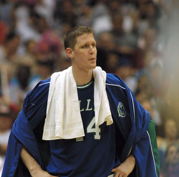 5 May 2001:  Shawn Bradley #44 of the Dallas Mavericks  looks on after loosing game 1 of the NBA Western Conference Semifinals to the San Antonio Spursat the Alamo Dome in San Antonio, Texas.  DIGITAL IMAGE Mandatory Credit: Tom Hauck/ALLSPORT  NOTE TO US