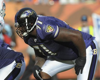 MIAMI, FL - JANUARY 4:  Tackle Jared Gaither #71 of the Baltimore Ravens  sets to block against the Miami Dolphins in an NFL Wildcard Playoff Game at Dolphins Stadium on January 4, 2009 in Miami, Florida.  (Photo by Al Messerschmidt/Getty Images)