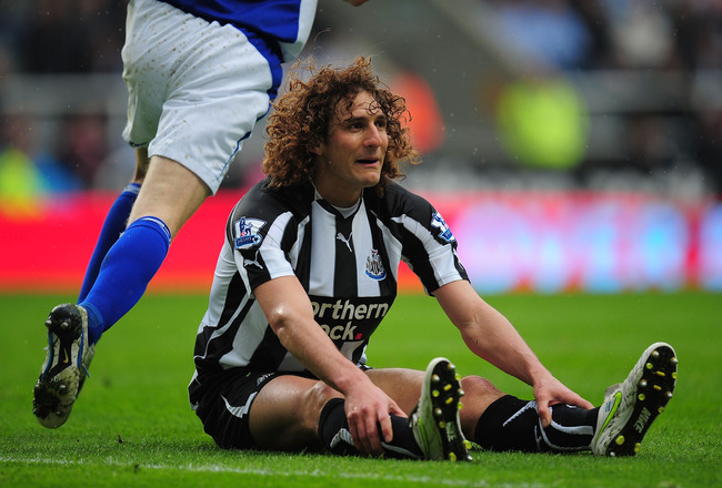 NEWCASTLE UPON TYNE, ENGLAND - MAY 07:  Newcastle player Fabricio Coloccini looks on during the Barclays  Premier League game between Newcastle United and Birmingham City at St James' Park on May 7, 2011 in Newcastle upon Tyne, England.  (Photo by Stu For