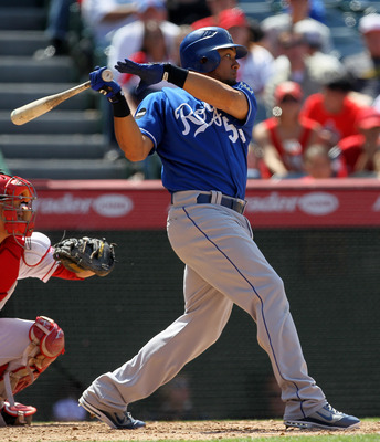 ANAHEIM, CA - JUNE 12:  Melky Cabrera #53 of the Kansas City Royals hits an RBI single in the eighth inning against the Los Angeles Angels of Anaheim on June 12, 2011 at Angel Stadium in Anaheim, California.  The Royals won 9-0.  (Photo by Stephen Dunn/Ge