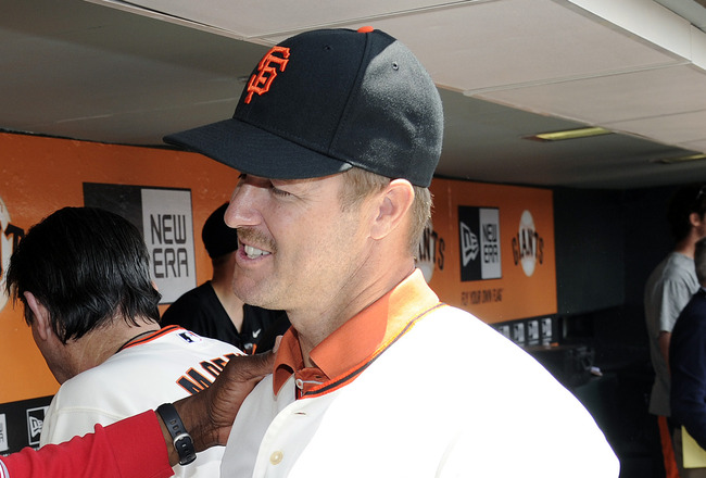 SAN FRANCISCO, CA - JUNE 11: San Francisco Giants Legend Jeff Kent (R) talks with Cincinnati Reds Managers Dusty Baker #12 on San Francisco Giants Legends Day before an MLB baseball game between the Cincinnati Reds and the San Francisco Giants June 11, 20