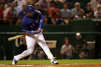 ARLINGTON, TX - AUGUST 6:  Sammy Sosa #21 of the Texas Rangers at bat against the Oakland Athletics at Rangers Ballpark August 6, 2007 in Arlington, Texas.  (Photo by RonaldMartinez/Getty Images)