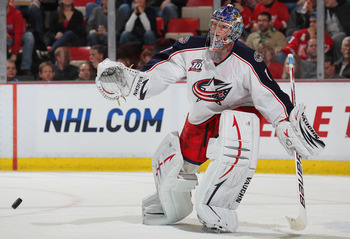 DETROIT, MI - FEBRUARY 4:  Steve Mason #1 of the Columbus Blue Jackets stops a shot in a game against the Detroit Red Wings on February 4, 2011 at the Joe Louis Arena in Detroit, Michigan. The Blue Jackets defeated the Wings 3-0. (Photo by Claus Andersen/