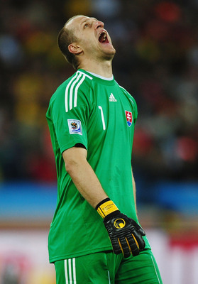DURBAN, SOUTH AFRICA - JUNE 28:  Jan Mucha of Slovakia reacts during the 2010 FIFA World Cup South Africa Round of Sixteen match between Netherlands and Slovakia at Durban Stadium on June 28, 2010 in Durban, South Africa.  (Photo by Laurence Griffiths/Get