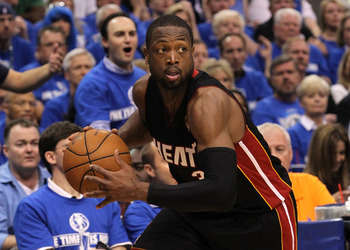 DALLAS, TX - JUNE 09:  Dwyane Wade #3 of the Miami Heat moves the ball while taking on the Dallas Mavericks in Game Five of the 2011 NBA Finals at American Airlines Center on June 9, 2011 in Dallas, Texas.  NOTE TO USER: User expressly acknowledges and ag