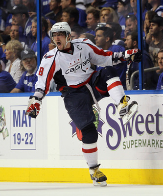 TAMPA, FL - MAY 03:  Alex Ovechkin #8 of the Washington Capitals scores a power play goal at 17:27 of the second period against the Tampa Bay Lightning in Game Three of the Eastern Conference Semifinals during the 2011 NHL Stanley Cup Playoffs at St Pete