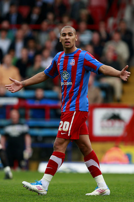 LONDON, ENGLAND - APRIL 16:  James Vaughan of Crystal Palace reacts to one of the assistant referee's decisions during the npower Championship match between Crystal Palace and Scunthorpe United at Selhurst Park on April 16, 2011 in London, England.  (Phot