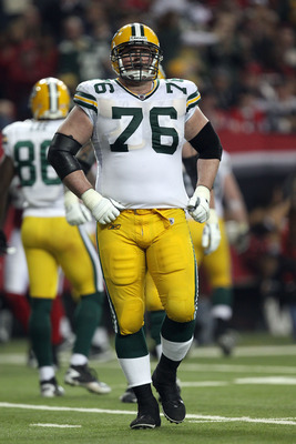 ATLANTA, GA - JANUARY 15:  Chad Clifton #76 of the Green Bay Packers looks on against the Atlanta Falcons during their 2011 NFC divisional playoff game at Georgia Dome on January 15, 2011 in Atlanta, Georgia. The Packers won 48-21. (Photo by Streeter Leck