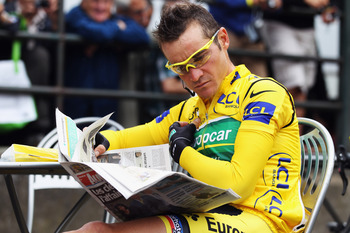 LIMOUX, FRANCE - JULY 17:  Thomas Voeckler of France and Team Europcar relaxes at the start of stage fifteen of the 2011 Tour de France from Limoux to Montpellier on July 17, 2011 in Limoux, France.  (Photo by Bryn Lennon/Getty Images)