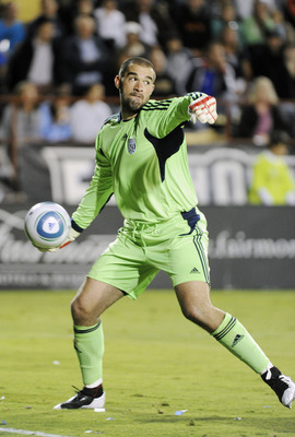 SANTA CLARA, CA - JULY 12: Boaz Myhill #1 of West Bromwich Albion of the English Premier League in action against the San Jose Earthquakes during a friendly soccer game at Buck Shaw Stadium on July 12, 2011 in Santa Clara, California. The Earthquakes won