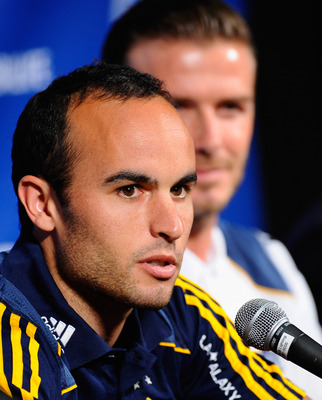 LOS ANGELES, CA - JULY 12: Los Angeles Galaxy's Landon Donovan during a news conference to announce the Herbalife World Football Challange 2011 friendly soccer torunament between 13 european and US soccer clubs on July 12, 2011 in Los Angeles, California.