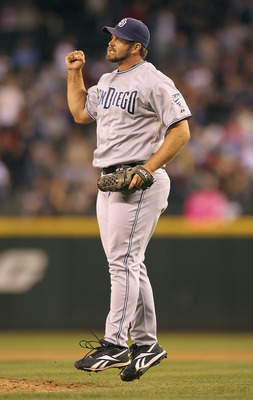SEATTLE - JULY 02:  Closing pitcher Heath Bell #21 of the San Diego Padres celebrates after defeating the Seattle Mariners 1-0 at Safeco Field on July 2, 2011 in Seattle, Washington. (Photo by Otto Greule Jr/Getty Images)