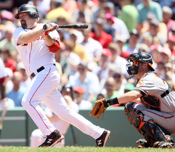 BOSTON, MA - JULY 10:  Kevin Youkilis #20 of the Boston Red Sox watches his hit as Matt Wieters #32 of the Baltimore Orioles catches on July 10, 2011 at Fenway Park in Boston, Massachusetts.  (Photo by Elsa/Getty Images)